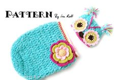 Owl Hat and Cocoon Set Crochet Pattern for newborns and babies