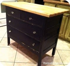 Put counter on top of an old dresser for a kitchen island or would be perfect for the bar are for extra counter space