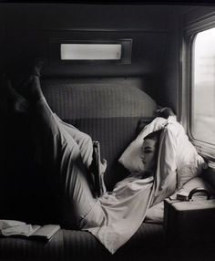 lazy days on the train, lounging in your sleeper car. (october 2014). photograph by lillian bassman, harper's bazaar, 1951.