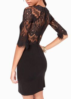 amazing lace detail on the back of this little black dress