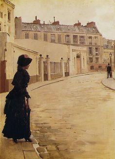 Jean Beraud, L'attente, Rue de Chateaubriand, a Paris,