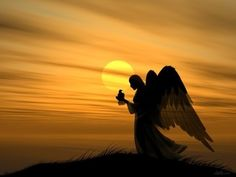 silhouett, wing, god, heaven, sunset, sunris, beauti, quot, guardian angels