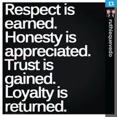 Respect, Honesty,Trust, Loyalty Lifelessons, Inspiration, Quotes, Trust, Life Lessons, Truths, Loyalty, Respect, True St...