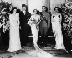 Cairo, Egypt- The Royal Imperial Wedding group.   Taken after Princess Fawzia, 18-year-old sister of King Farouk of Egypt, and  Crown Prince Mohamed Rida Chahbour of Iran, had been married in the Abdin Palace.  In accordance with Moslem custom, the Princess was not present at the ceremony when the marriage contract was signed, but met her groom in the Queen's apartments afterwards.    Left to right: Queen Farida and King Farouk of Egypt; Princess Fawzia and Crown Prince Mohamed, and Queen Mot...