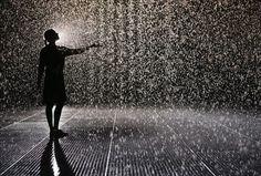 modern art, rain room, cups, rain dance, art installations, falling waters, walk, room art, curves