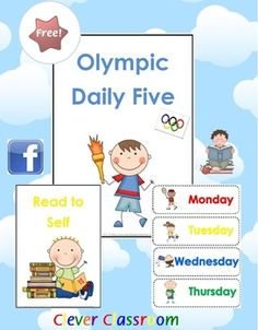 FREE Olympic Themed Daily 5 & Days of the Week Cards - PDF file    11 page free classroom resource designed by Clever Classroom.    This file is also featured on our 2012 London Olympics MEGA pack - 306 pages in our TpT store.