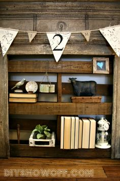 diy pallet, craft, faux fireplace, pallet shelves, clipboards, decor idea, diy shelves put of pallets, banners, flower box