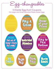 coupons to put in eggs for egg hunt
