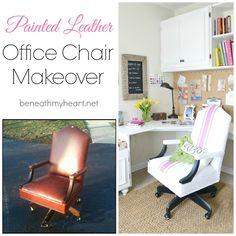 painted leather office chair #lowescreativeideas #springiscalling beneathmyheart.net