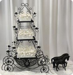 Love the Wedding Cake Stand in White hors, idea, gothic wedding, cake stands, white weddings, carriag cake, white wedding cakes, flower planter, cinderella