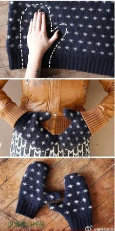 DIY mittens from old jumpers project, sew, sweaters, idea, stuff, crafti, cloth, diy, mitten