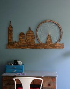 DIY London Skyline String Art Plywood Wall Hanging