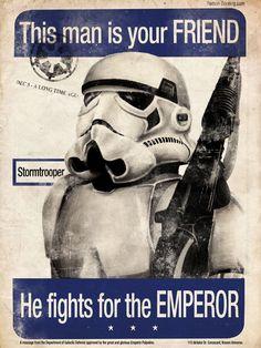 Stormtrooper - Imperial Propaganda Print. via Etsy.