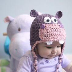 free pattern, hippo hat, earflap hat, happy pattern, hat patterns, hat pattern free