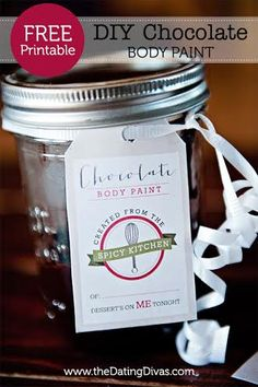 Finally!  Now here's a DIY Anniversary gift I KNOW my man will appreciate.  hee hee.  ;)  (Free recipe card and gift tag for homemade chocolate body paint)