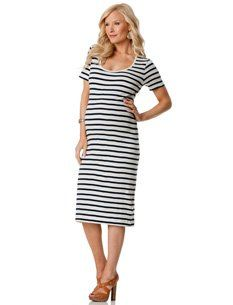 A Pea in the Pod: French Connection Elbow Sleeve Striped Maternity Dress