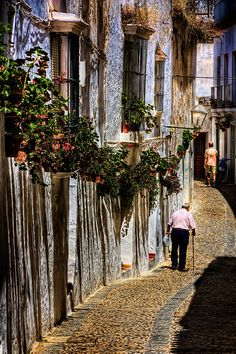 Flowers In The Street - In the streets of Arcos de la Frontera, Andalusia, Spain | Stephen Candler Photography