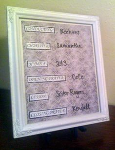 LDS Young Women Activity Ideas and More!: Dry-Erase Board for Sunday Opening Exercises