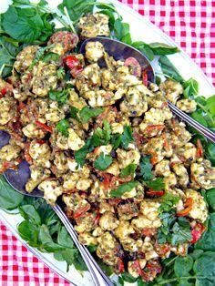 Pesto-Marinara Cauliflower Plate & Mediterranean Raw Food Recipes