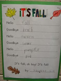 FirstGradeGarden It's Fall:  Hello, Goodbye Poetry and Leaf Activity