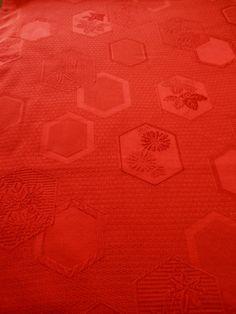 (best viewed enlarged) Vintage Japanese Kimono Silk Fabric - chrysanthemum orange with Traditional Symbols, via Etsy.
