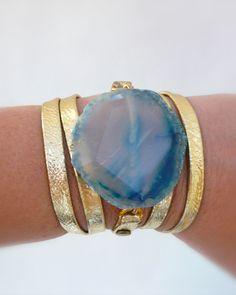 Turquoise agate wrap bracelet