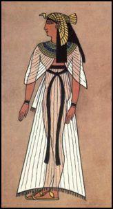 Imagen que nos ilustra la forma de vestir en el antiguo Egipto.  Nos muestra un ejemplo del estilo de vestimenta y accesorios que se utilizaban en aquellos tiempos.