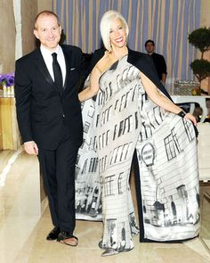 Linda's dress/cape is just to die for!    Bergdorf Goodman's 111th Anniversary Party - Celebrity and Fashion Party Photos - Harper's BAZAAR