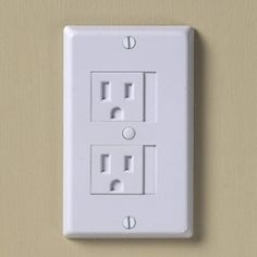 babyproof outlet covers - just slide over to use, and closes automatically when you unplug. Good idea