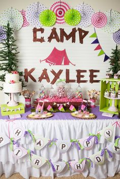 Glam camping party ideas and dessert table (by Banner Events)