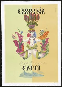 1962 advertising poster for Carthusia perfume. Mermaid logo designed by Mario Laboccetta in 1948.
