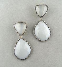 grey moonstone slice pave diamond earrings by rockedjewelry, $650.00