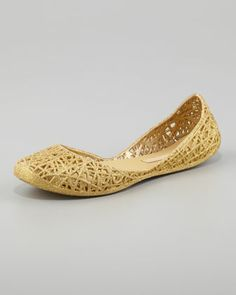 Melissa + Campana Papel III Glitter Jelly Flats, Gold by Melissa Shoes at Neiman Marcus.