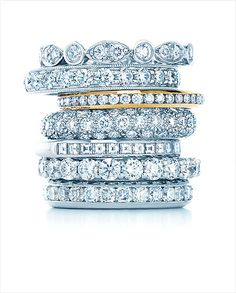 Tiffany and Co. stacked diamond rings