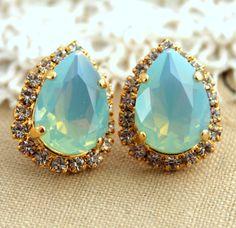 Clear Mint Crystal big teardrop stud earring  14k by iloniti, $44.00