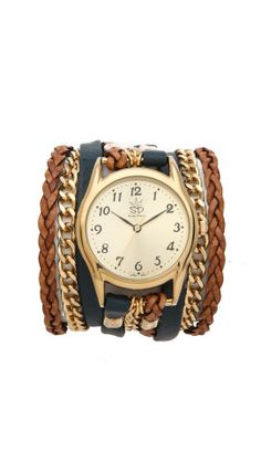 Leather & Chain Wrap Watch.