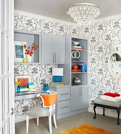 wallpapered modern home office