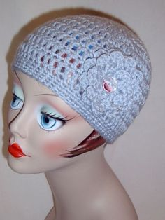 Handmade Adult Crochet Hat with Flower in Silver Blue 25 more Colors to Choose From $20
