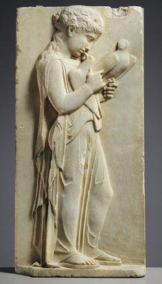 Grave stele of a little girl, ca. 450–440 B.C.  Greek  Parian marble