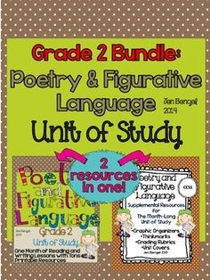 This bundle includes everything you need to teach and assess for a month long unit of study on poetry and figurative language in the reading and writing workshops! There are 40 CCSS detailed lessons, chart examples, printable graphic organizers and thinkmarks for every reading lessons, writing rubrics, and much more! languages, charts, graphic organizers, figur languag, poetri, graphics, poetry, reading lessons, writing rubrics