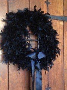 Lush Black Feather Wreath Made Simple feather boa, color, feather wreath, halloween crafts, boa wreath, feathers, black feather, halloween wreaths, holiday decor