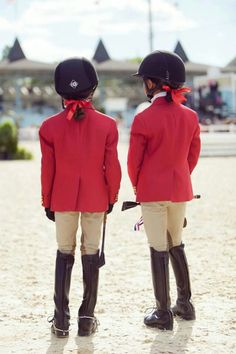 Adorable red jacket riders