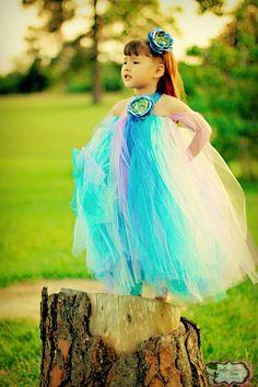 Peacock Princess Flowergirl Tutu Dress  by RufflesRibbonsNBows, $60.00