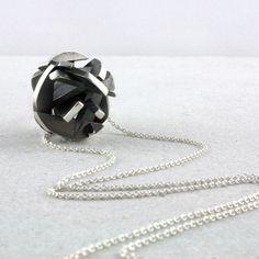 Negative/Positive pendant, oxidized sterling silver  www.fairinachengjewellery.com #3dprinting #3dmodelling #necklace #pendant #contemporaryjewellery #contemporaryjewelry #sydneydesigner #madeinaustralia #fairinacheng