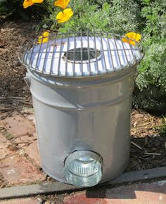 DIY-  Rocket Stove Made From a Five Gallon Metal Bucket ~~ Rocket stoves are great for smokeless outdoor cooking with a minimal amount of fuel - they run on twigs! GREAT FOR CAMPING OR EMERGENCY PREPAREDNESS TOO!