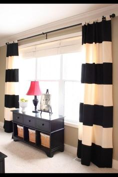 dining rooms, living rooms, window, cape, color, black white, diy curtains, bedroom, stripe