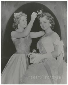 Miss America 1957, Marian McKnight crowning the new Miss Winston-Salem, Betty Jean Goodwin, 1957.