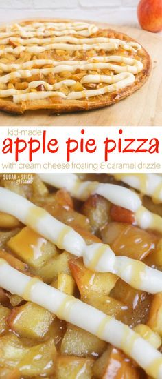 A delicious fall dessert that kids can help make, this apple pie pizza with cream cheese frosting and caramel drizzle is decadent yet easy. If you've been wanting to try a dessert pizza, this is a great first recipe to try because it is so forgiving