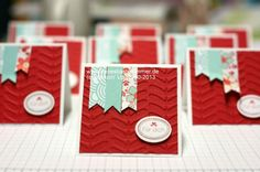 Very Cute. Note cards.  Made with Stampin' Up! Valentine Special (no longer available, but could be made with any other CS and Stamps!). Still available SAB Vine Street Embossing Folder, Real Red, Whisper White CS, and Real Red ink from Annual Catalog.