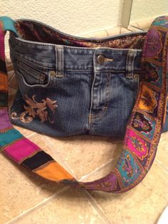 Recycled Upcycled Repurposed Denim Purse/Bag Handmade  by HookinUp, $40.00